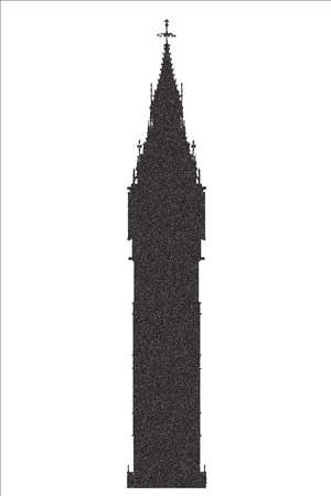 london night: The London landmark Big Ben Clocktower in stipple dot silhouette.