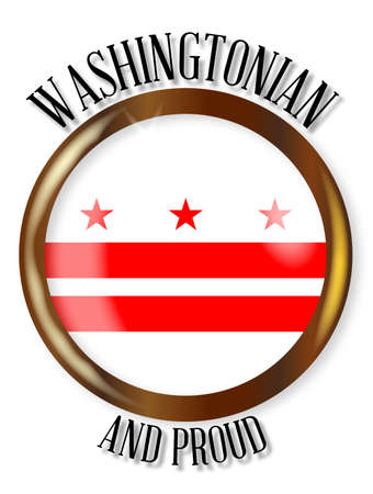 dc: Washington DC state flag button with a gold metal circular border over a white background with the text Washington DC and Proud