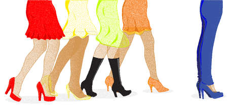 strutting: A collection of female legs walkig towards the sale with one pair wearing jeans at the front ib dotted stipple Stock Photo