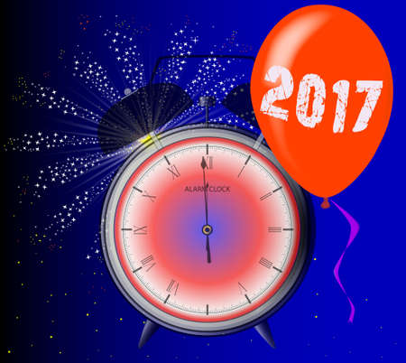 midnight: A 2017 midnight clock with balloon and firework explosion.