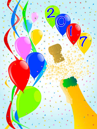 Multi coloured balloons, confetti and streamers, a party image for 2017