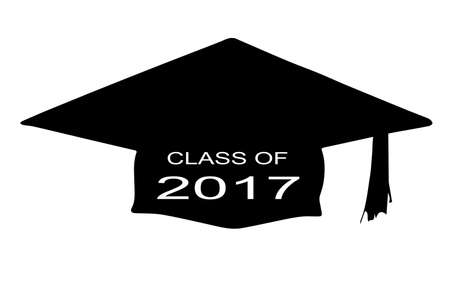 legend: A cap with the legend Class of 2017 over a white background Illustration