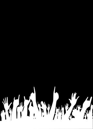 gig: Hands raised in the air at a concert Illustration