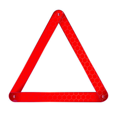 Vehicle Warning Triangle sign isolated on a white background..
