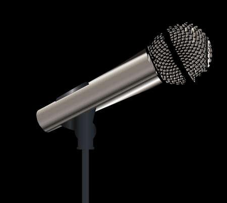 Un micrófono en el escenario listo para el intérprete Ilustración de vector