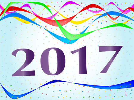 streamers: Multi coloured confetti and streamers with the text 2017 Illustration
