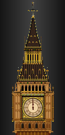 bell tower: A detailed illustration of the Big Ben clock face about to strike midnight Illustration