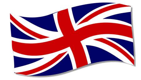 union jack flag: A fluttering Union Jack flag over a white background