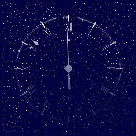 Un vecchio inglese tipo ufficio orologio faccia mostrando mezzanotte su uno sfondo ammasso stellare