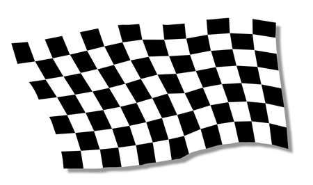 A racing chequered flag fluttering over a white background Illustration