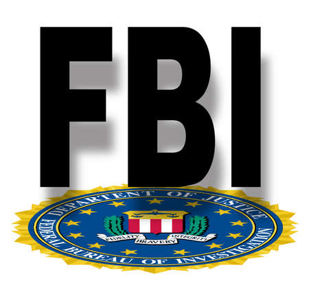 bureau: The seal of the Federal Bureau of Information over a white background With FBI text Illustration