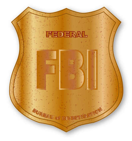 special agent: Spoof FBI shield badge isolated on white. Illustration