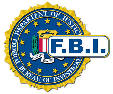 Mock up of the seal of the Federal Bureau of Information over a white background Illustration