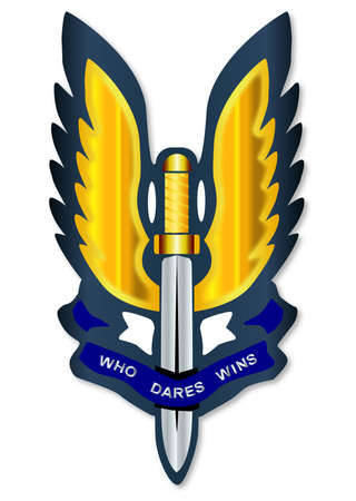 regiment: A depiction of the Special Air Service badge isolated over a white background