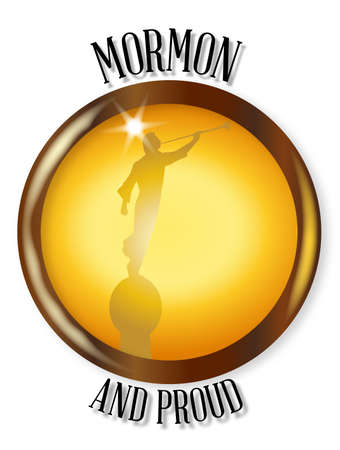 latter: The Latter Day Saints angel Moroni blowing a horn on a Mormon and Proud button