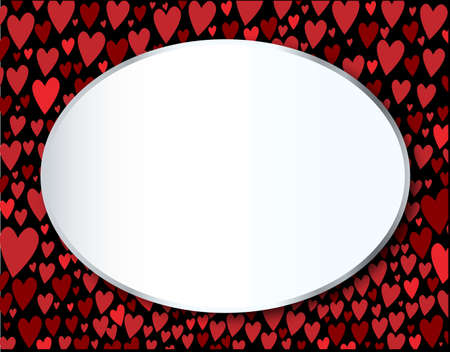 portion: Hearts falling and collecting at the bottom of the page with an oval blank message portion