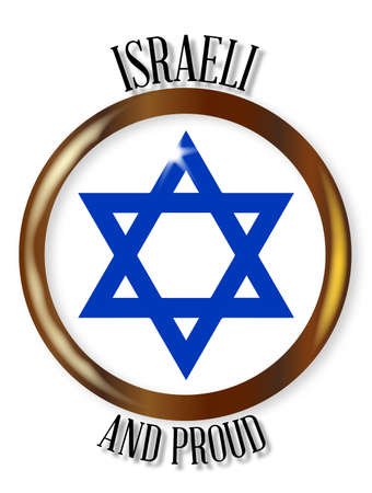 israeli: Traditional Israeli symbol on a Israeli and Proud button over a white background