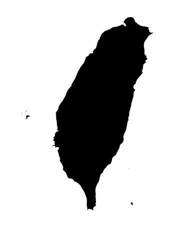 chinese map: silueta del mapa de la Rebublic china de Taiw�n sobre un fondo blanco