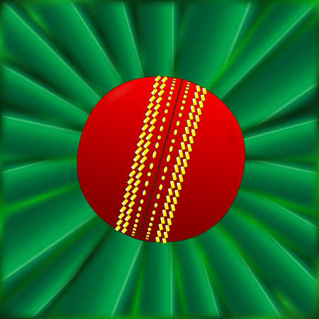 crickets: A typical cricket ball over a green material background Illustration
