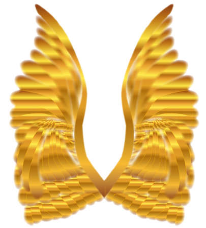 angelic: A large pair of golden angelic wings over a white background