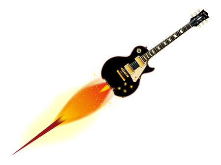 headstock: The definitive rock and roll guitar in black, isolated over a white background.