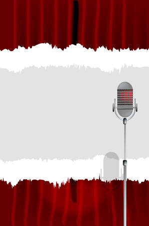 spotlit: A microphone ready on stage against a red curtain with a tear copy space Illustration