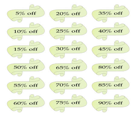 80 85: A set of scrolls woth an array of discount percentages Illustration