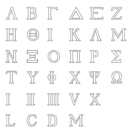 The letters of the Greek alphabet with numbers