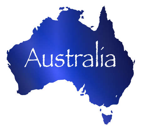 aussie: Silhouette map of Australia in blue over a white background