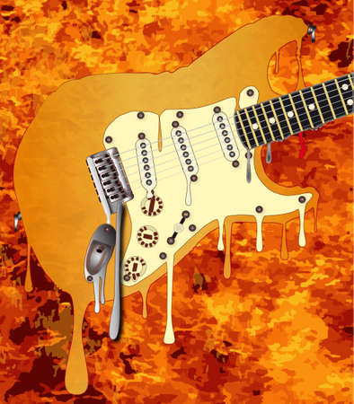 frets: A traditional rock guitar melting down in a bckground of flames Stock Photo