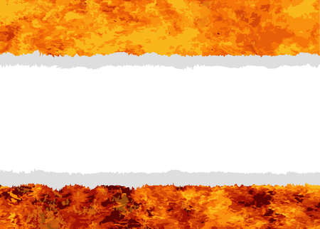 paper tear: A flames background with a paper tear copy space section