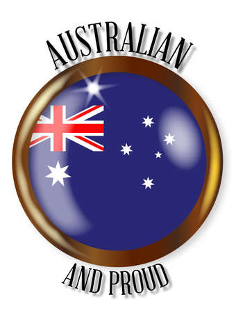 oz: Australia flag button with a gold metal circular border over a white background with the text Australian and Proud Illustration