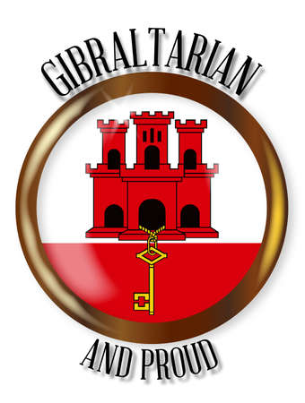 Gibraltar flag button with a gold metal circular border over a white background with the text Gibraltarian and Proud Illustration