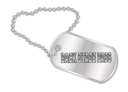 metalic design: A military style dog tags with chain with the text Back Stage Pass Illustration