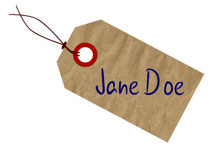 doe: A Jane Doe brown paper tag over a white background