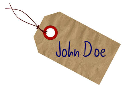 john: A John Doe brown paper tag over a white background Illustration