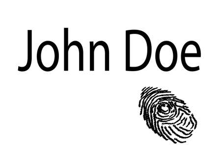 john: A finger print with the text John Doe