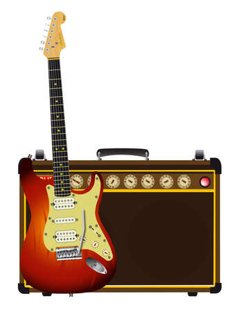 A guitarists valve amplifier and guitar isolated over a white background.