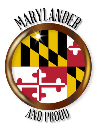 maryland flag: Maryland state flag button with a gold metal circular border over a white background with the text Marylander and Proud