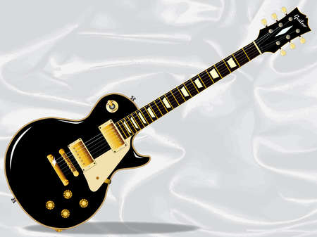 pickups: The definitive rock and roll guitar in black isolated over a white silk background.
