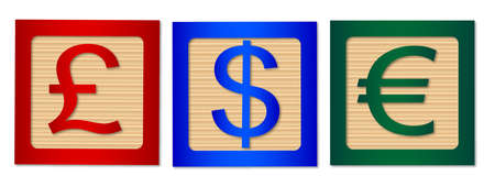 kiddies: Wooden blocks giving the financial signs for Dollar, Pound and Euro
