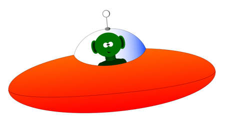 A flying saucer and alien over a white background