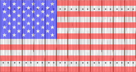softwood: A wood fence with the USA flag the Stars And Stripes Illustration