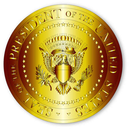 A depiction of the seal of the president of the United States of America in gold