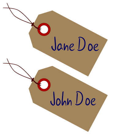 john: A Jane a d John Doe set of brown paper tags over a white background