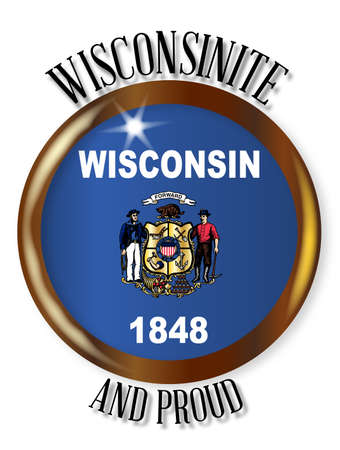 wisconsin state: Wisconsin state flag button with a gold metal circular border over a white background with the text Wisconsinite and Proud