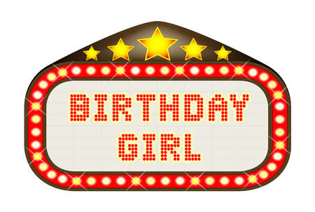 las vegas lights: A Birthday Girl movie theatre or theatre marquee.