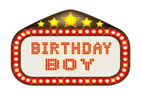 las vegas lights: A Birthday Boy movie theatre or theatre marquee. Illustration