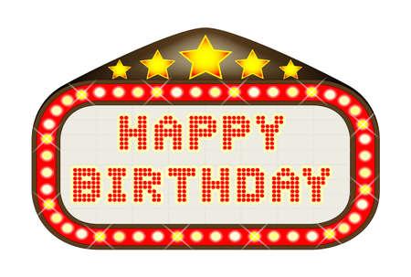 las vegas lights: A Happy Birthday movie theatre or theatre marquee. Illustration