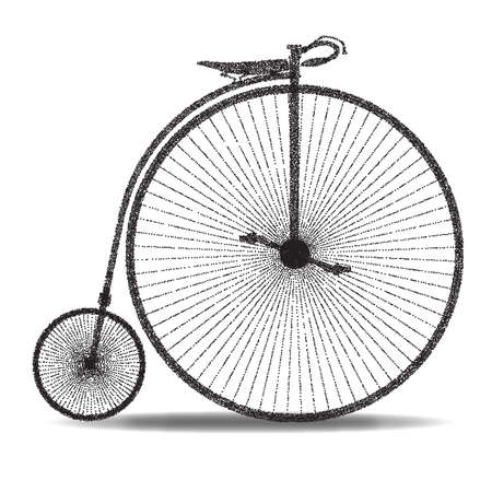 spoked: A typical penny farthing bicycle over a white background.